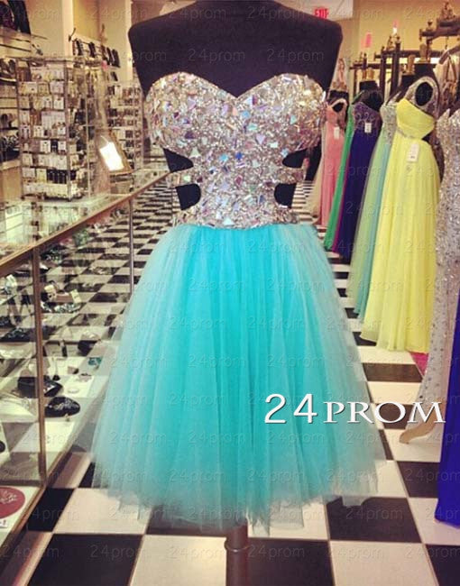 Sweetheart A-line Tulle Rhinestone Short Prom Dresses, Homecoming Dresses