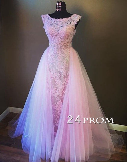 Pink Round Neck Lace Tulle Long Prom Dress, Evening Dresses