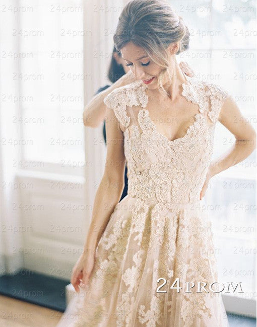 Charming A-line V neckline Champagne Lace Long Wedding Dresses, Lace Bridal Dresses