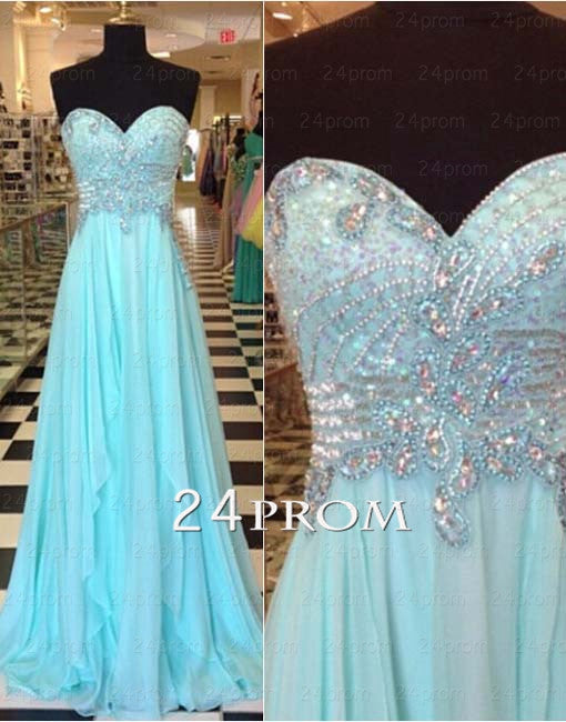 Sweetheart Beaded Chiffon Blue Long Prom Dresses, Formal Dresses