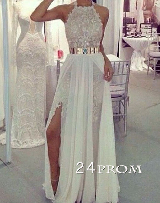 Custom Made White A-line Chiffon Lace Long Prom Dresses, Evening Dresses