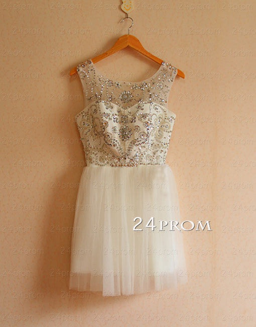 White Short Sequin Rhinestone round neckline Prom Dresses, Homecoming Dress