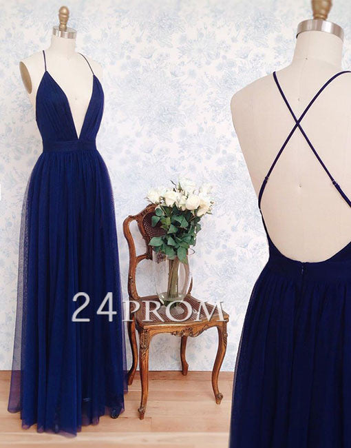 Dark blue tulle v neck long prom dress, backless evening dress