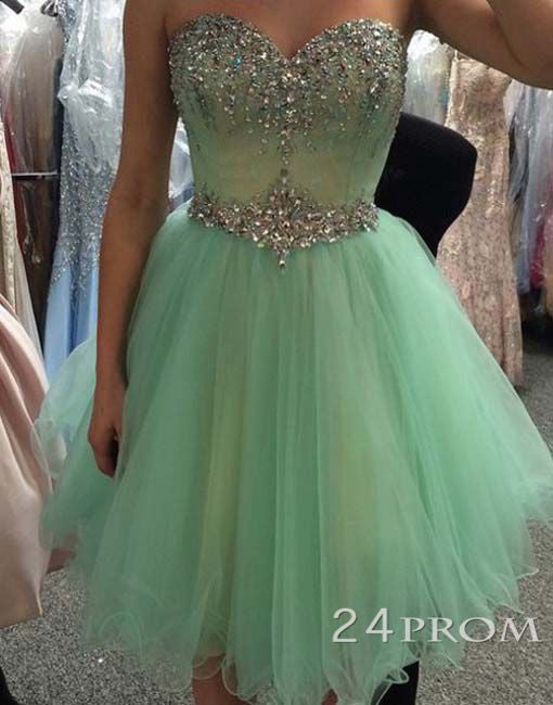 Sweetheart Tulle Green Short Prom Dresses, Homecoming Dresses