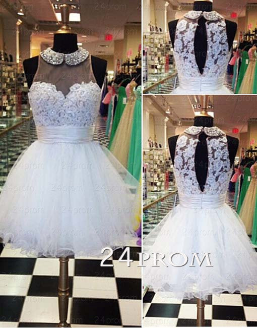 White A-line round neckline Lace Short Prom Dresses, Homecoming Dress
