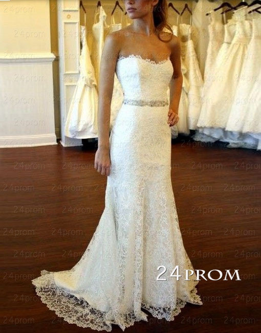White A-line Sweetheart Long Lace Wedding Dresses, Bridal Dresses