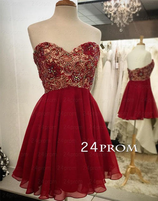 Sweetheart Neck Red Short Lace Prom Dress, Homecoming Dress