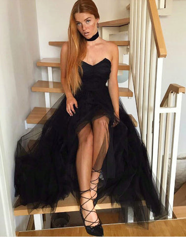 Simple black tulle strapless A line long prom dress, black evening dresses