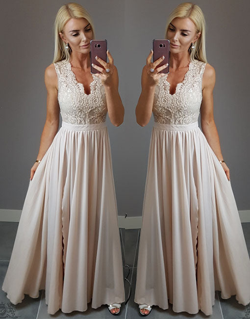 Stylish champagne lace v neck long prom dress, lace evening dress