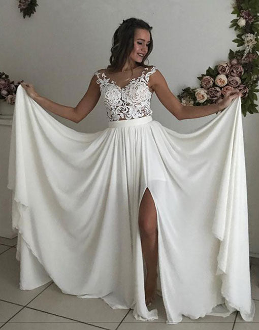Ivory chiffon lace long prom dress, lace evening dress