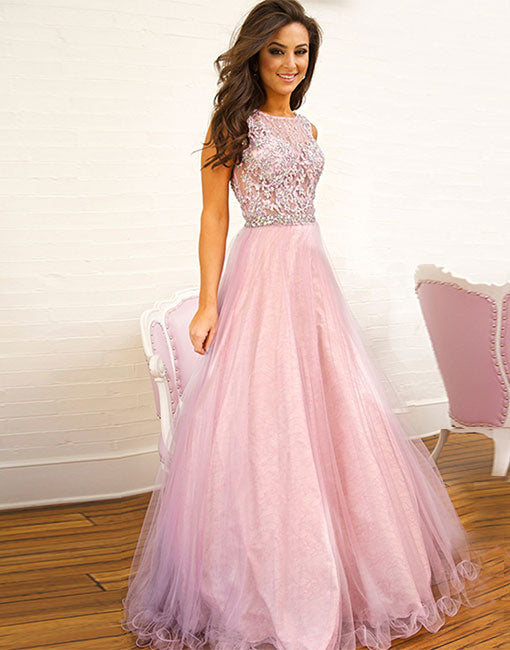 Pink lace tulle long prom dress, pink evening dress