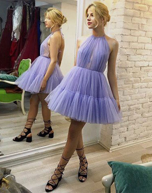 Cute purple tulle short prom dress, homecoming dress