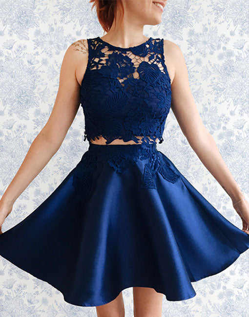 Cute dark blue lace two pieces short prom dress, homecoming dress