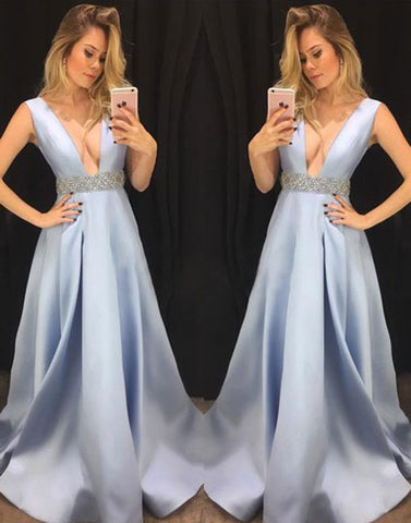 Blue v neck long prom dress, blue evening dress
