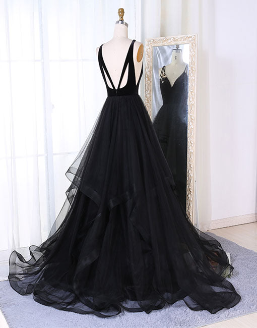 Black v neck tulle long prom dress, black evening dress