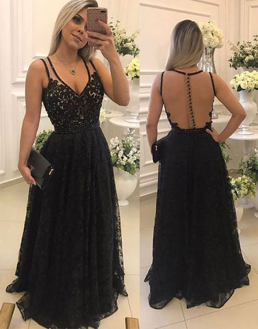 Black lace see through long prom dress, black evening dress