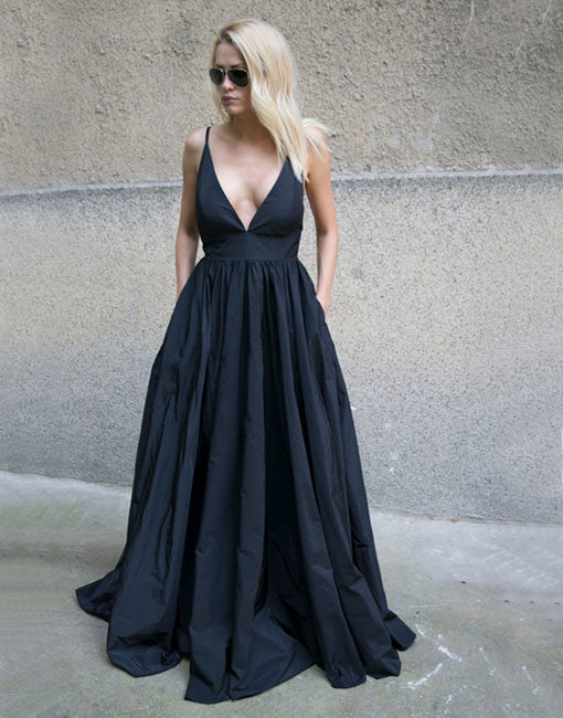 Stylish black v neck long prom dress, black evening dress