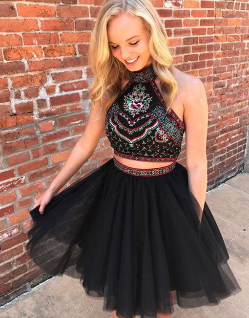 Cute black two pieces short prom dress, homecoming dress