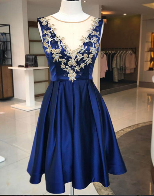 Cute blue round neck applique A line short prom dress, homecoming dress