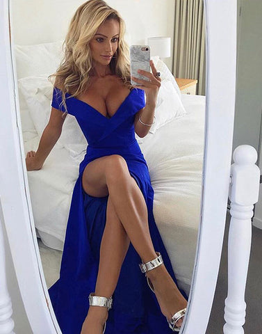 Simple v neck long prom dress, blue evening dress