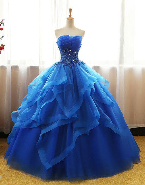 Unique blue tulle lace long prom gown, blue evening dress