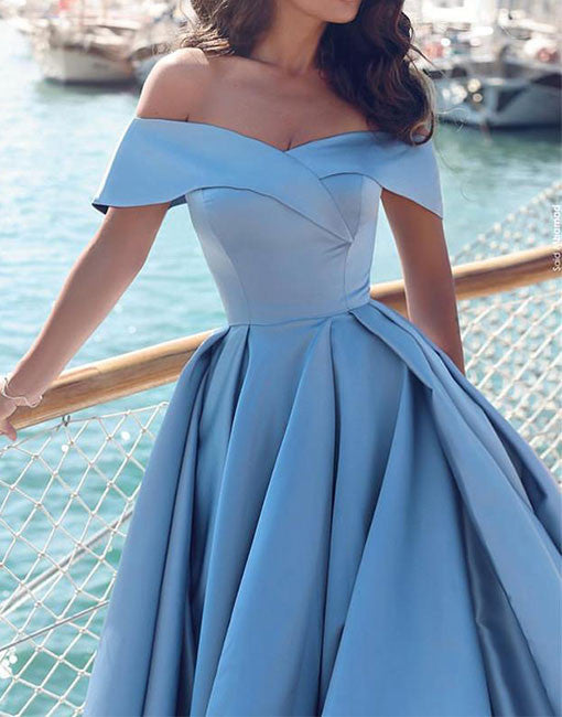 Unique light blue satin off shoulder long prom dress, blue evening dress
