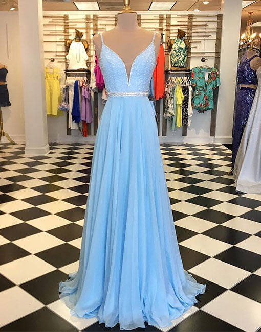 Blue v neck sequins chiffon long prom dress, evening dress