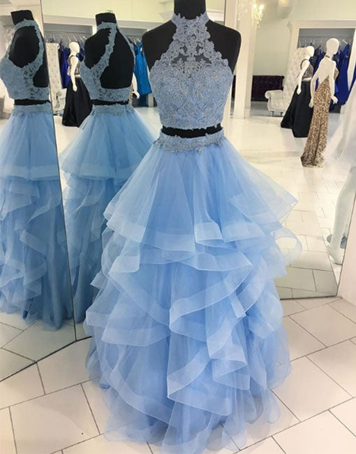 Blue lace tulle long prom dress, two pieces evening dress