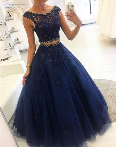 Dark blue lace two pieces long prom dress, evening dress