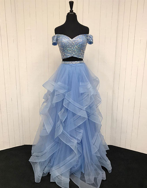 Blue two pieces long prom dress, evening dress