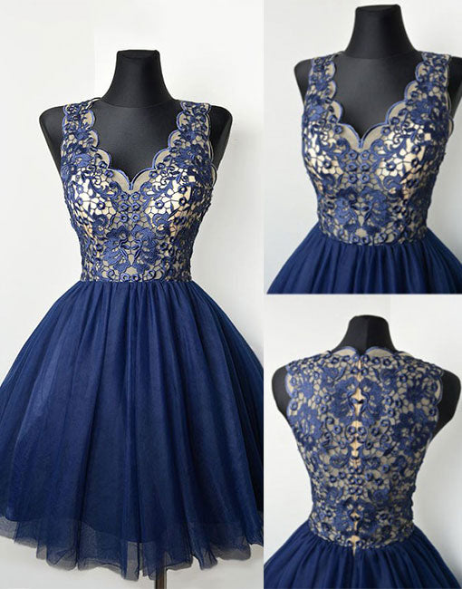 Cute dark blue v neck lace short prom dress, homecoming dress