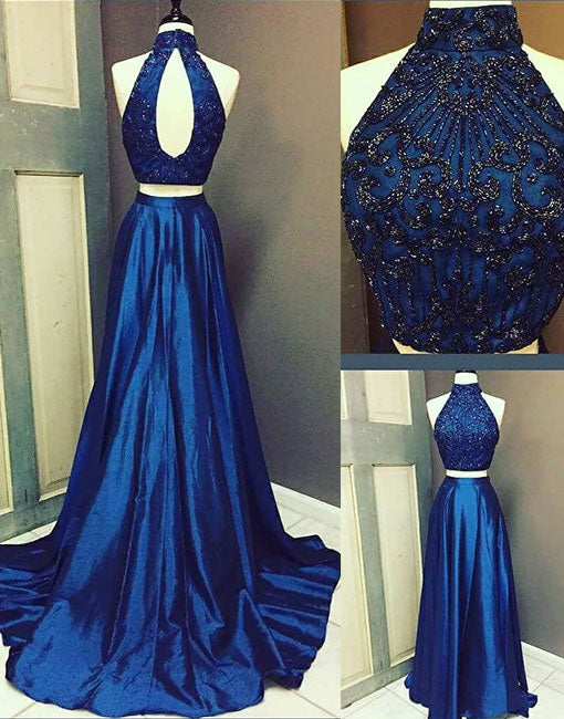 Navy blue high neck long prom dress, two pieces evening dress