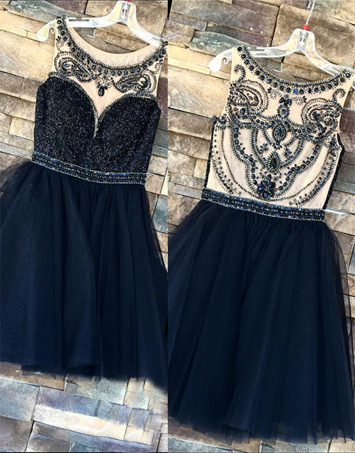 Cute dark blue tulle sequins short prom dress, homecoming dress
