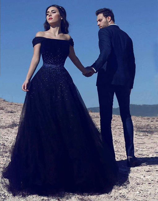 Navy blue tulle long prom dress, blue evening dress