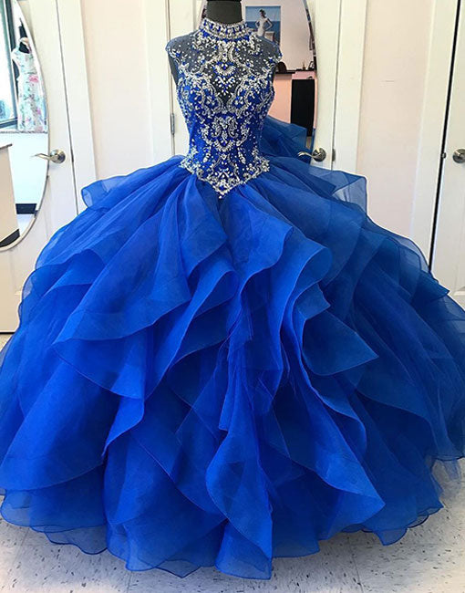 Blue high neck tulle long prom gown, blue evening dress