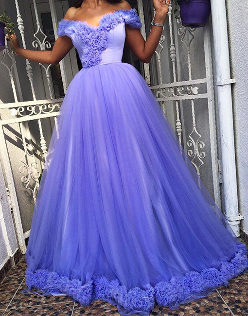 Unique tulle off shoulder long prom dress, evening dress