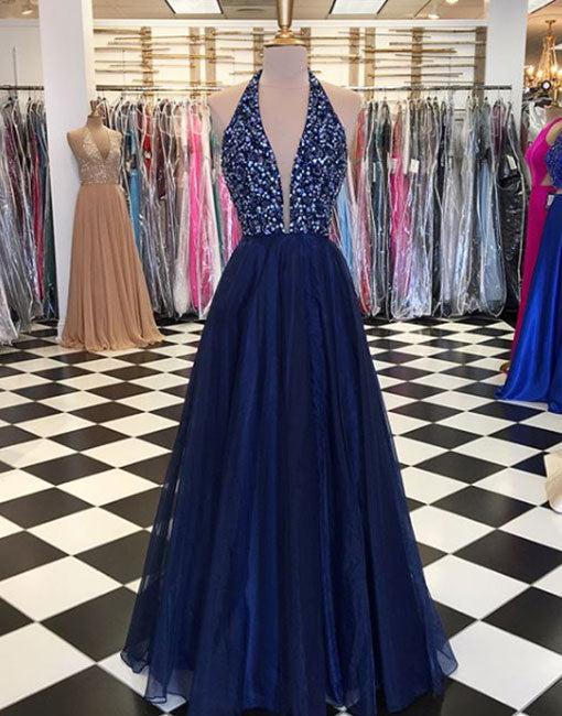 Blue v neck tulle sequins long prom dress, blue evening dress