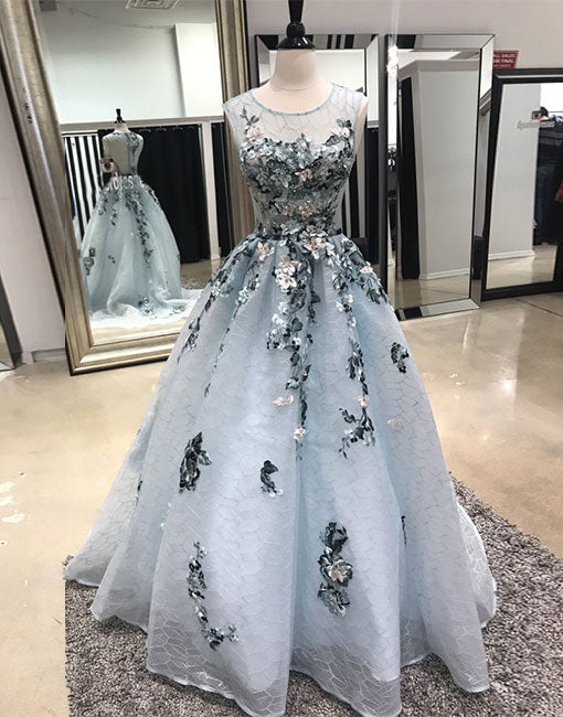 Gray lace long prom dress, gray evening dress