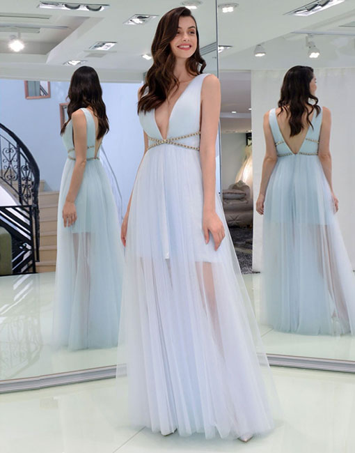 Light blue v neck tulle long prom dress, evening dress