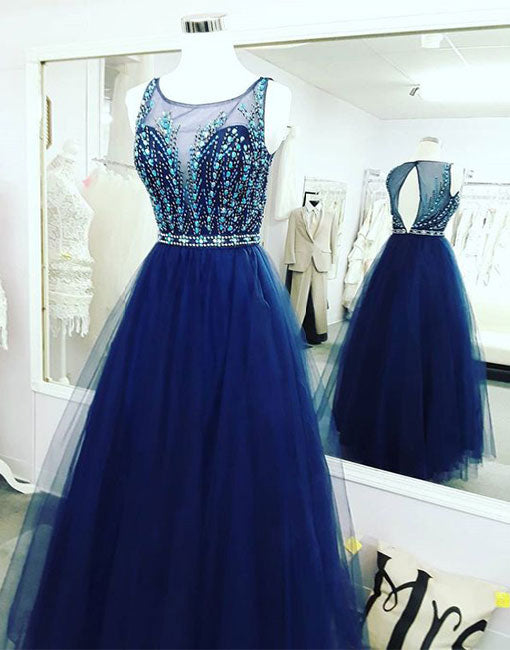 Blue tulle beaded long prom dress, blue evening  dress