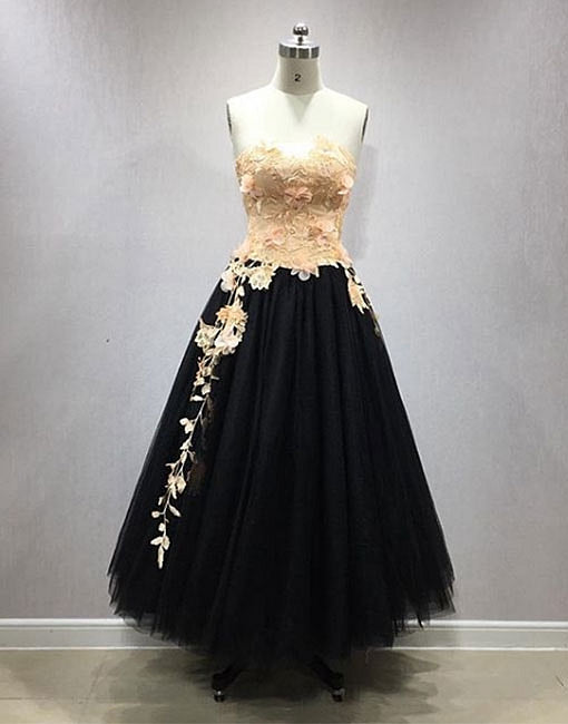Cute black tulle length prom dress, lace evening dress