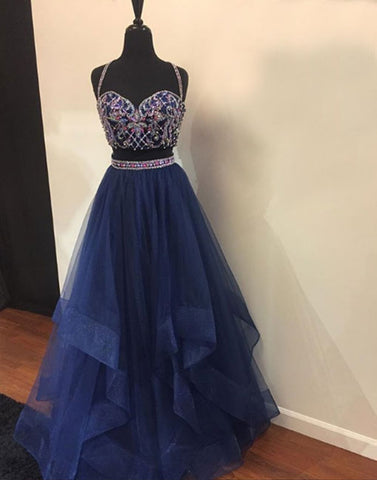 Blue two pieces tulle long prom dress, blue evening dress
