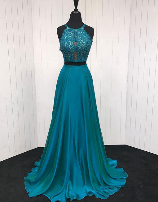 Blue lace two pieces long prom dress, evening dress