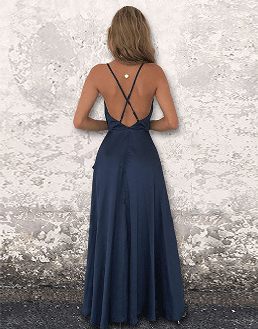 Simple blue backless long prom dress, blue evening dress