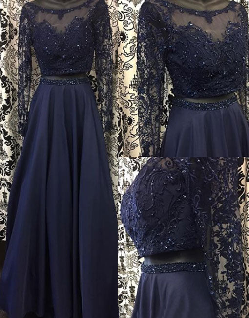 Dark blue two pieces long prom dress, long sleeve lace evening dress
