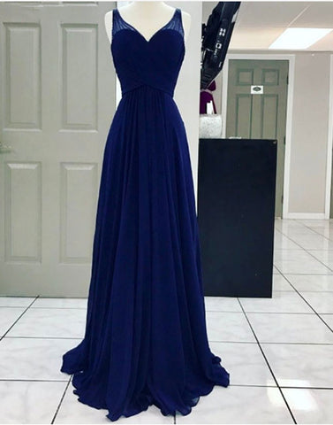 Elegant blue chiffon A line long prom dress, blue evening dresses
