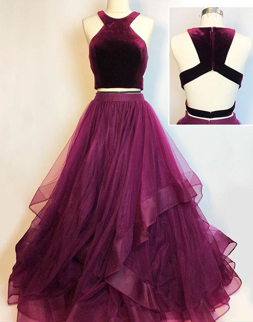 Stylish two pieces long prom dress, evening dress