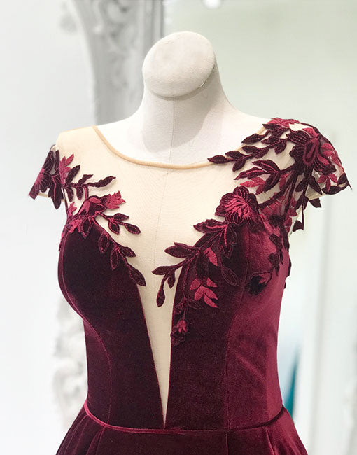 Burgundy round neck velvet long prom dress, evening dress