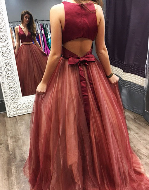 Burgundy two pieces long prom dress, burgundy evening dress