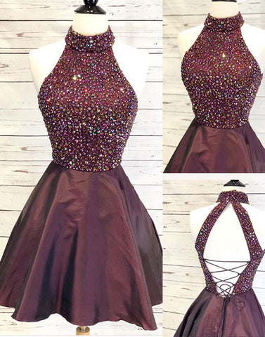 Burgundy round neck long prom dress, evening dress
